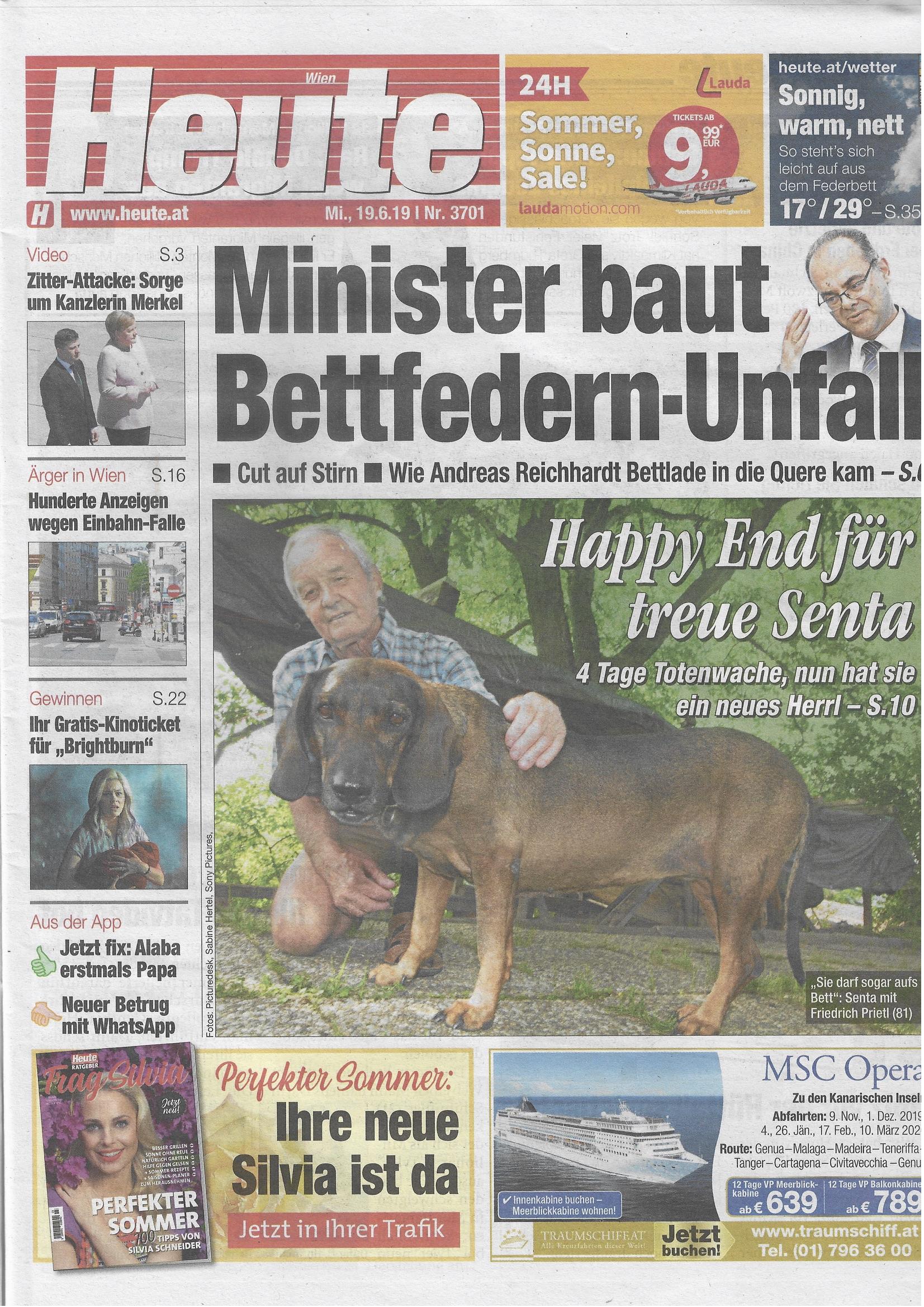 Heute - Minister baut Bettfedern-Unfall