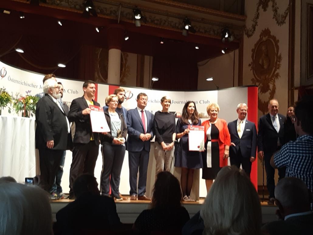 Ehrengäste und Sieger bei der Claus Gatterer-Preisverleihung 2019