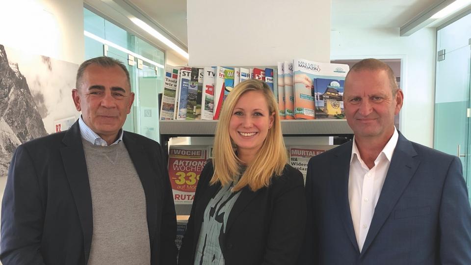 V.l.: Konrad Mayr-Perneck, Alexandra Hofer und RMA-Vorstand Gerhard Fontan