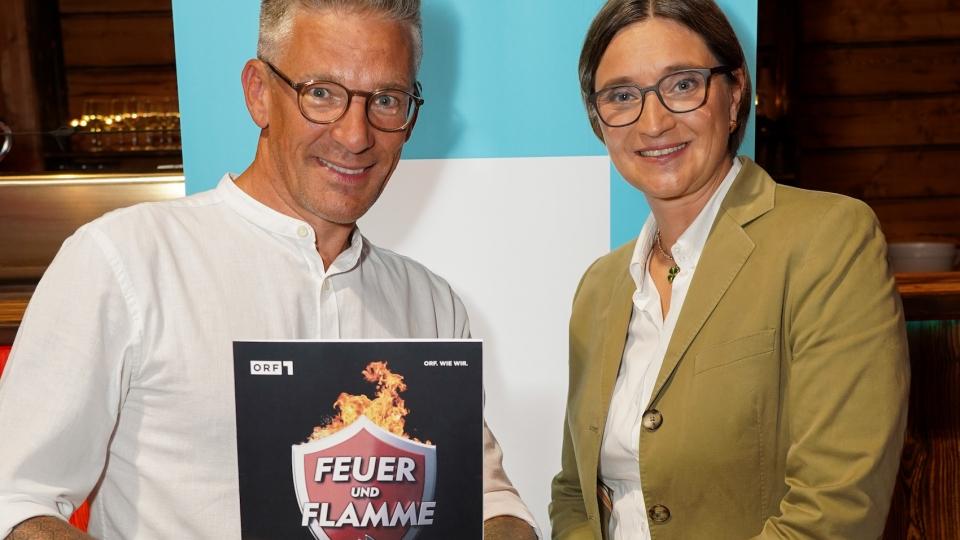 Andi Knoll und ORF 1 Channel-Managerin Lisa Totzauer bei der Programm-Präsentation