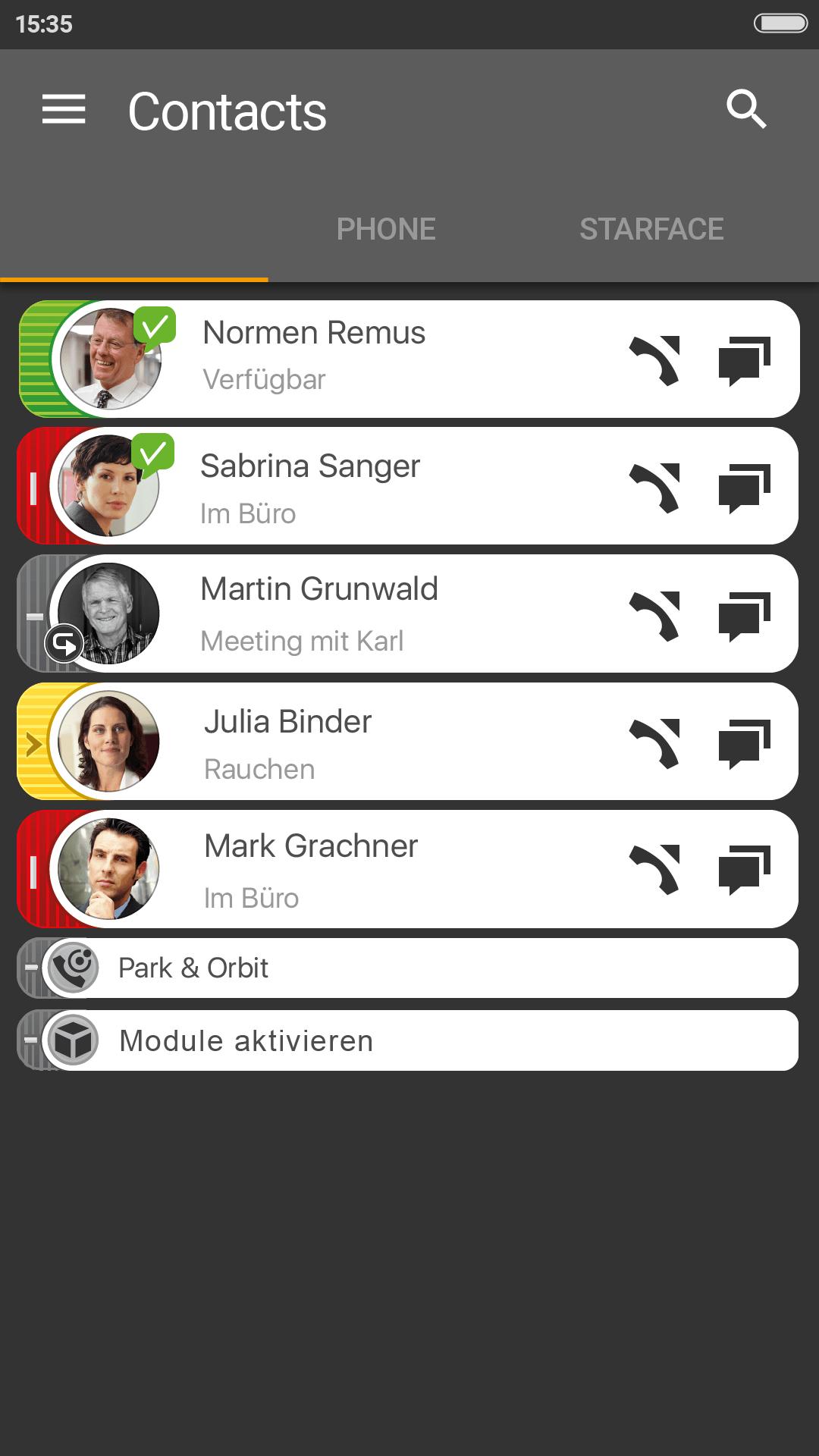STARFACE Mobile Client fÅr Android Tasten 15. Juni 2021